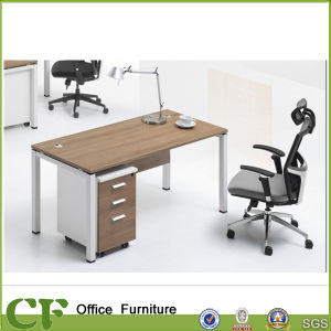 Simple Design Office Wood Table with 3-Drawer Cabinet pictures & photos
