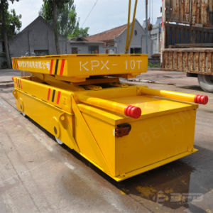 Large Table Battery Powered Material Handling Transfer Trailer on Rails pictures & photos