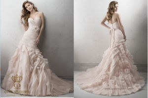 Ball-Gown Sweetheart Floor-Length Organza Wedding Dresses with Cascading Ruffles pictures & photos