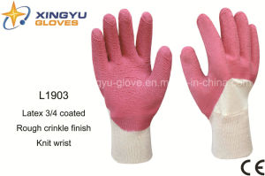 Interlock Liner Latex 3/4 Coated Rough Crinkle Finish Knit Wrist Safety Work Glove (L1903) pictures & photos