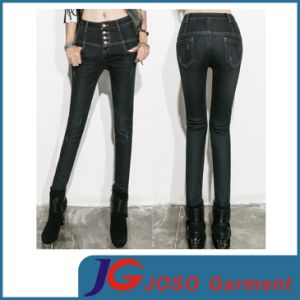 Black High Waist Trousers Denim Pants Jeans for Girls (JC1317) pictures & photos