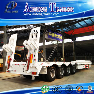 Low Bed Semi Trailer with Hydraulic Ladder for Sale pictures & photos