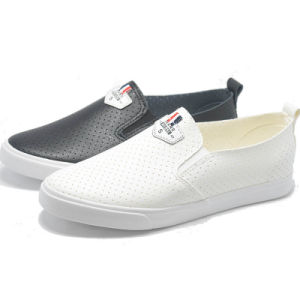 Breathability Leather Hot Sale Leisure Student Women Men Rubber Shoes pictures & photos