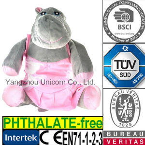 CE Gift Stuffed Animal Pink Dress Hippo Plush Toy