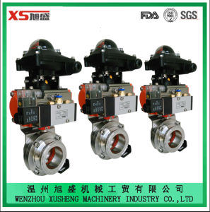 Stainless Steel Ss304 Sanitary Hygienic Explosion-Proof Pneumatic Actuator Butterfly Valves pictures & photos