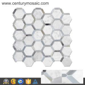 "Century Carrara White Mix Mugwort Blue 2"" Marble Mosaic Pattern"