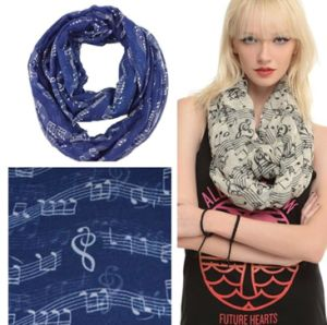 Women′s Fashion Music Note Print Infinity Scarf Shawl pictures & photos