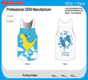 2016 Honorapparel New OEM Light Blue Dinosaur Pattern Evrionmental Friendly Running Singlet Polyester Racing Wear