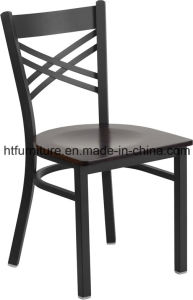 X-Back Metal Restaurant Chair with Wood Seat pictures & photos