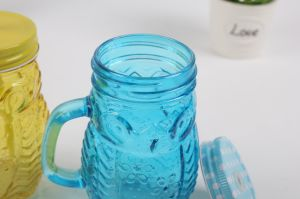 Owl Glass Beverage Handle Cup with Metal Lid and Straw pictures & photos