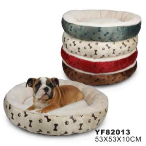 Soft Plush Fur with Paws Printing Round Pet Bed (YF82013) pictures & photos