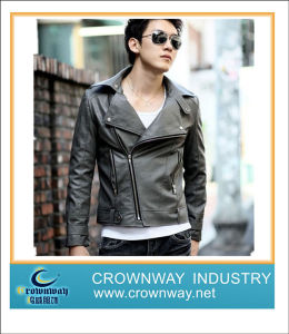 Mens Fashion Casual PU Leather Jacket with New Design pictures & photos