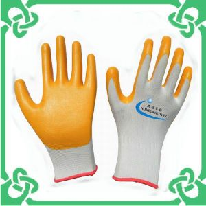 Orange Nitrile Coated Gloves of Work Gloves
