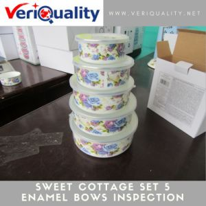 Sweet Cottage Set 5 Enamel Bowls Quality Control Inspection Service in China pictures & photos