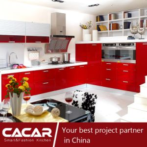 Red Maple Leaf Red Plastic Uptake PVC Kitchen Cabinet (CA09-01) pictures & photos