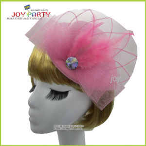 Mint Hat Hair Clip with Veil for Party