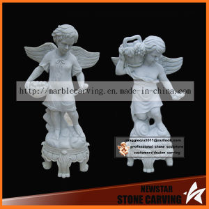 Stone Artwork White Marble Child Angel Statues Picking Fruit in Garden pictures & photos