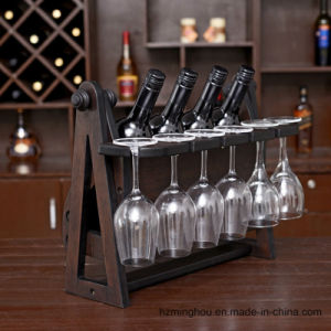 Hot Sales Rustic Wooden Wine Display Stand with Glass Storage pictures & photos