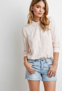 Long Sleeve Buttoned Front Polka DOT Shirt pictures & photos