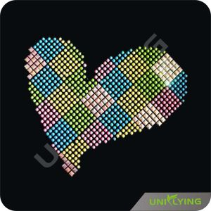 Love Heart Crystal Rhinestone Heat Transfers
