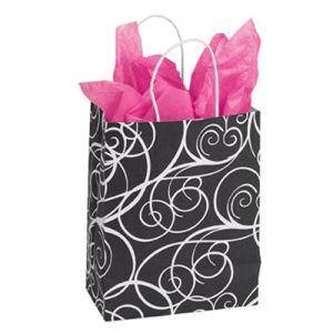 Medium Elegant Swirl Paper Shopping Bag Brown Paper Bags pictures & photos