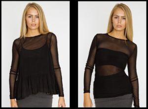 2017 Women′s Sexy Mesh T-Shirt Make of Polyester Elastane or Nylon Elastane Mesh Fabric pictures & photos