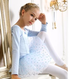 Children Dance Costumes Baby Blue Bitter Fleabane Skirt Short Sleeve of Ballet Costumes Dress