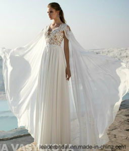 Sleeveless Beach Bridal Gowns Lace Chiffon Shawl Custom Wedding Dress A125 pictures & photos