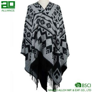 Fashion Women Winter Long Jacquard Capes Shawls pictures & photos