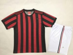 1718 AC Red and Black Stripe Soccer Uniforms pictures & photos