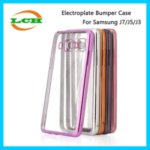 Electroplate Bumper Clear Back Phone Cases for Samsung J7/J5/J1 pictures & photos