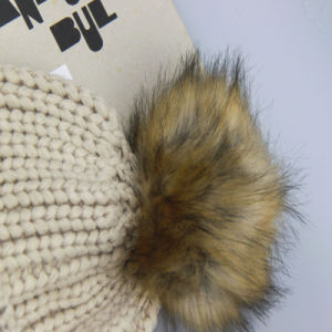 Boys Knitting Hat Winter Knit Hat with Large Polyester Fur Ball POM Poms pictures & photos