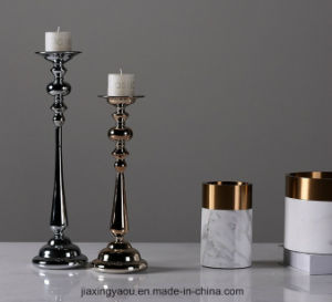 Electroplate Glass Candle Holder (silver) pictures & photos
