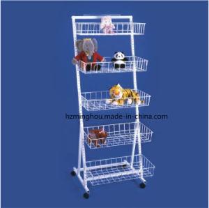 Promotiona Adjustable Metal 5 Basket Wire Snack Basket Display Rack pictures & photos