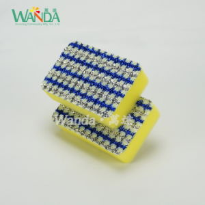 Dish Washing Cleaning Sponge Foam Sponge Scourer with Mesh Cloth pictures & photos