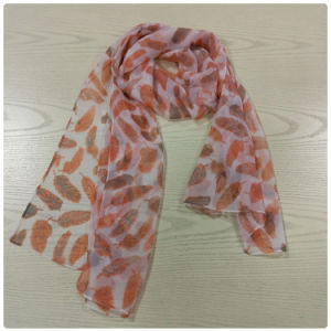 Feather Printed Polyester Chiffon Long Scarf for Women