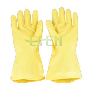 Yellow Rubber Gloves Yellow Latex Protective Gloves Oil Resistant to Acid and Alkali Resistant pictures & photos