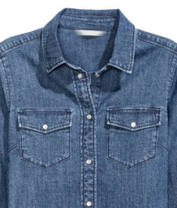 Cotton/Poly Fitted 6.5oz Denim Shirt pictures & photos