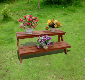 Antique Bench Style Wooden Plant Rack Flower Stand
