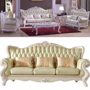 Leather Sofa with Wood Chaise Lounge for Living Room Furniture pictures & photos