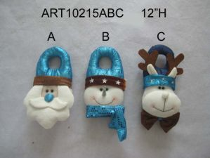 Santa, Snowman and Moose Christmas Decoration Doorknob -3asst. pictures & photos