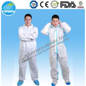 Disposable PP Lab Coat Disposable Nonwoven Coveralls with Hood pictures & photos