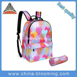 Lovely Teenager Girls Polyester Heart Print School Backpack Bag pictures & photos