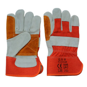 Cow Split Leather Working Safety Hand Gloves Reinforcement The Palm pictures & photos