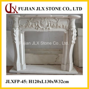 White Marble Stone Fireplace with Flower Carving pictures & photos