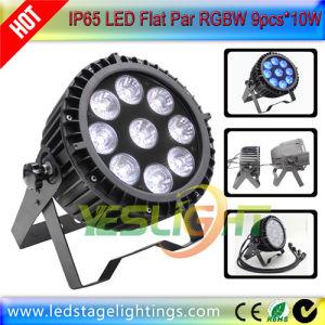 Slim LED PAR 9PCS*10W RGBW 4in1 LEDs for Outdoor Wedding Decoration pictures & photos