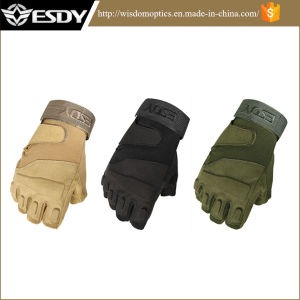 Hunting Half-Finger Fingerless Airsoft Army Military Hiking Gloves Green Color pictures & photos