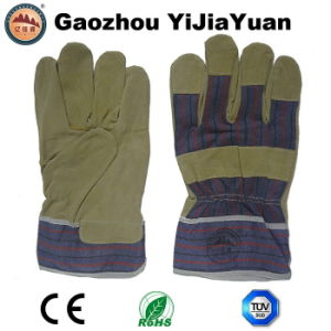 Gardening Leather Cowhide Rigger Docker Work Gloves pictures & photos
