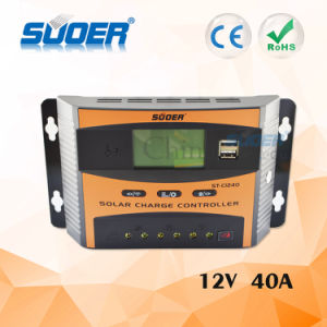 Suoer 12V 40A Intelligent PWM Solar Controller Solar Charge Controller with Ce RoHS (ST-C1240) pictures & photos