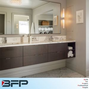 Woodgrain Panel Door Double Basin Wall Bathroom Vanity for Hotel pictures & photos